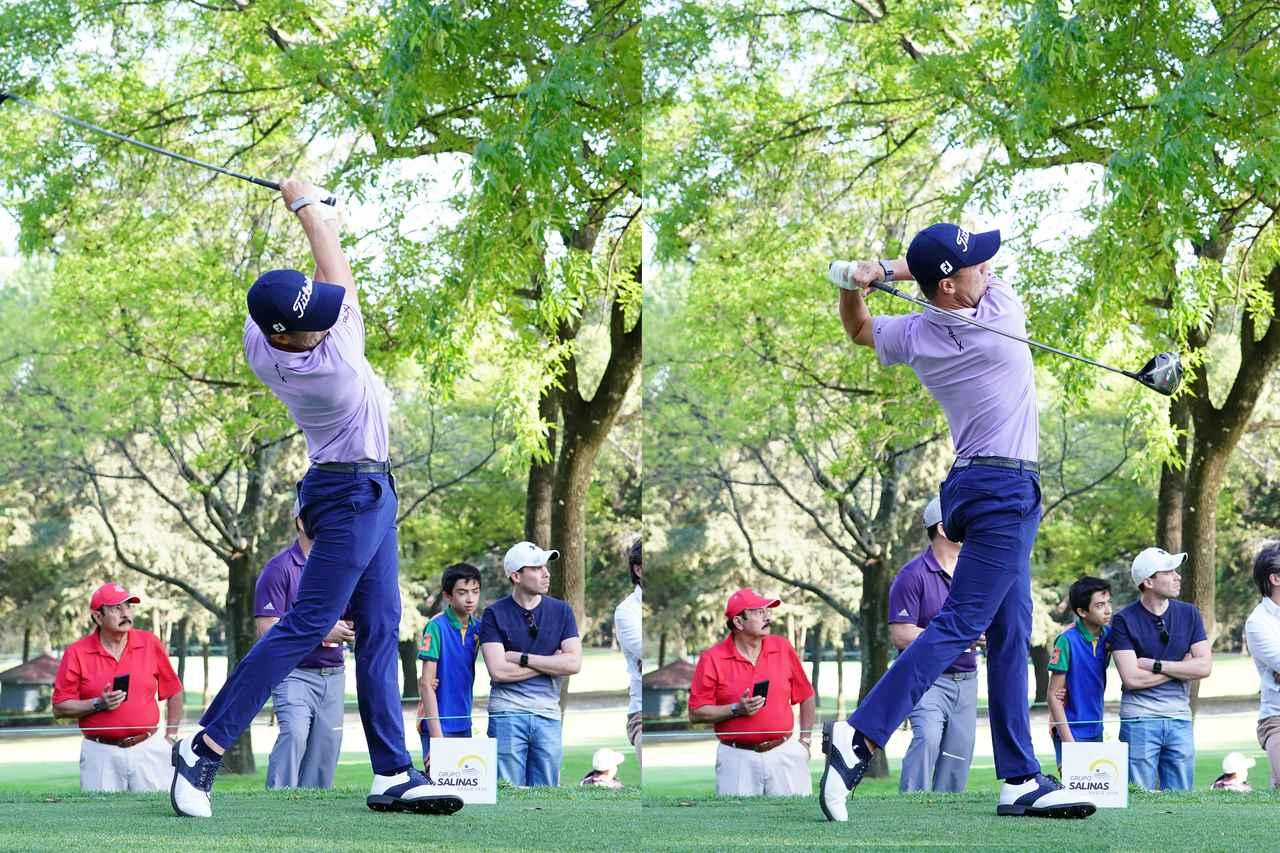 画像: フィニッシュ前(左)からフィニッシュ(右)までのスウィング。おおよそ手元が頭の上にくるタイミングで左かかとが接地し、そこを支点に体を回転させフィニッシュまで体を回し切っている(写真は2020年のWGCメキシコ選手権 撮影/姉崎正)