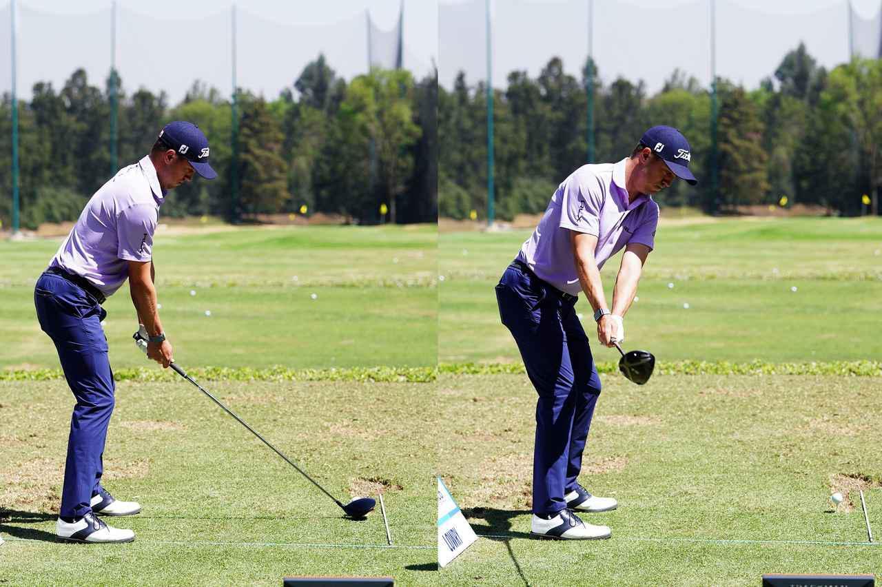 画像: アドレスからハーウェイバックにかけてのスウィング。ヘッドがグリップよりも前方向にある(写真は2020年のWGCメキシコ選手権 撮影/姉崎正)