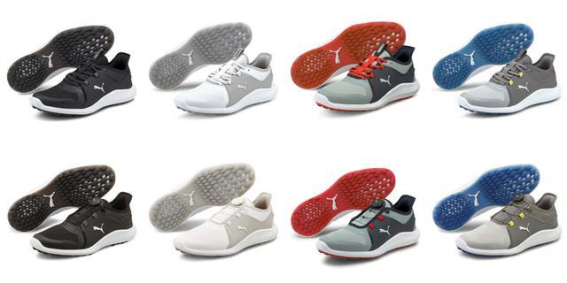 画像: 靴ひもタイプの「イグナイトFASTEN8」(上部)とダイヤルタイプの「イグナイトFASTEN8ディスク」(下部)のカラーバリエーションは共通。左から、プーマブラック、プーマホワイト、クウォーリー×ネイビー、ハイライズ×プーマシルバー×クワィエットシェードの全4色だ