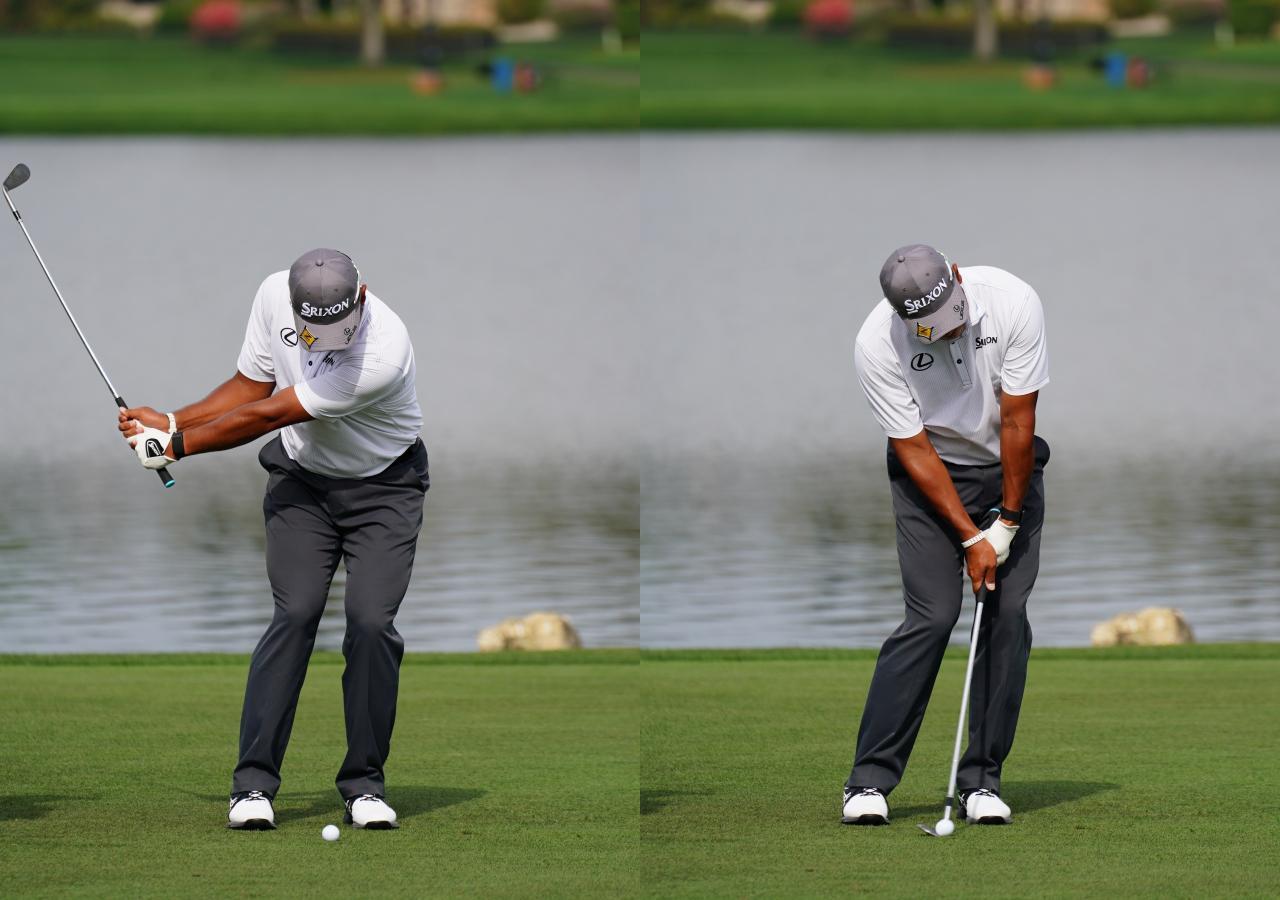 画像: 画像B 切り返しから手元と体の距離を保つことで入射角の浅い緩やかな軌道を確保(左)、左足を踏み込んでお腹周りの筋力を使うことで再現性の高いインパクトを実現する(右)(写真は2021年のアーノルドパーマー招待)