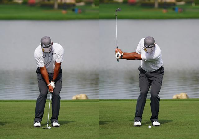 画像: 画像A オーソドックスなスクェアグリップで握りフェースを開きボール位置は左足寄りに構え(左)、しっかりと体幹を使ったコンパクトなトップ(右)(写真は2021年にアーノルドパーマー招待)