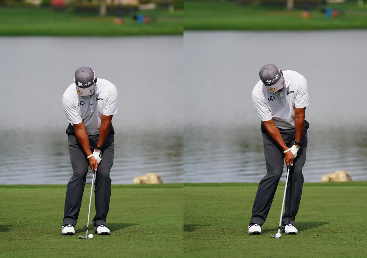 画像: 画像D アドレスではターゲットよりも左を向いたリーディングエッジ(左)はインパクトではロフトを立てずにリーディングエッジがスクェアに戻る(右)(写真は2021年のアーノルドパーマー招待)