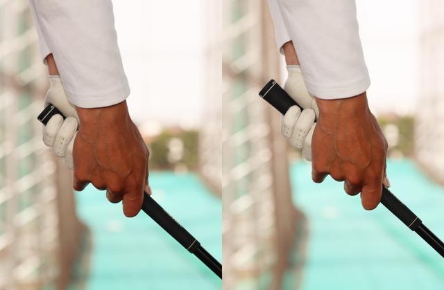 画像: 写真左はいつも通り握ったパターン。写真右は右手がグリップのロゴにかかる程度、短く握っている
