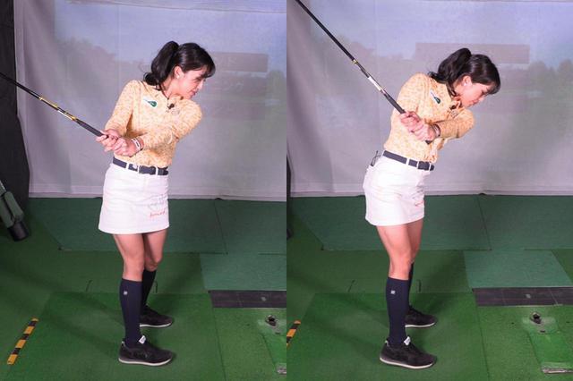 画像: 上半身と下半身を一緒に回転しながらバックスウィングすると捻転差が作られず飛ばしのエネルギーが得られない(左)。上半身を回しつつ、下半身は回り過ぎないように耐える動きをすることで捻転差がしっかりと作られる(右)