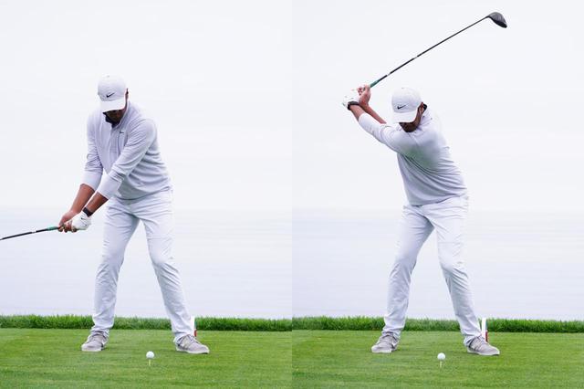 画像: 左肩をスライドさせ、コンパクトでありながら上体がしっかりと捻転されたトップを作り出している(写真は2020年のファーマーズインシュランスオープン 撮影/姉崎正)