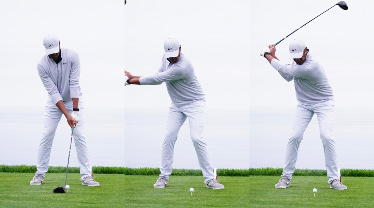 画像: 上半身の捻転に合わせて少し体の内側へ動いた左ひざ(中)が、トップの段階(右)でアドレス位置(左)まで戻り、捻転差を作りつつクラブを振り下ろす準備が完了している(写真は2020年のファーマーズインシュランスオープン 撮影/姉崎正)