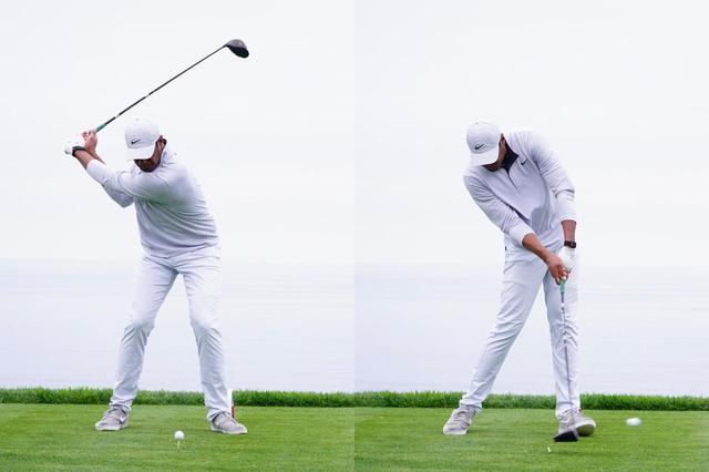 画像: 切り返しからダウンスウィングで左手首を背屈させ(左)、インパクト直前で掌屈させることでスクェアインパクトを実現している(右)(写真は2020年のファーマーズインシュランスオープン 撮影/姉崎正)
