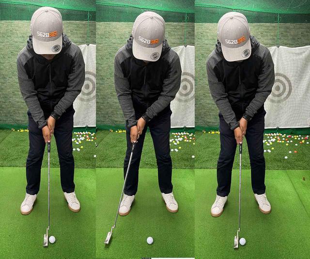 画像: いつもと同じスピードでテークバックして、ボールギリギリでヘッドを止めるようにする。これを3回繰り返してからボールを打つ