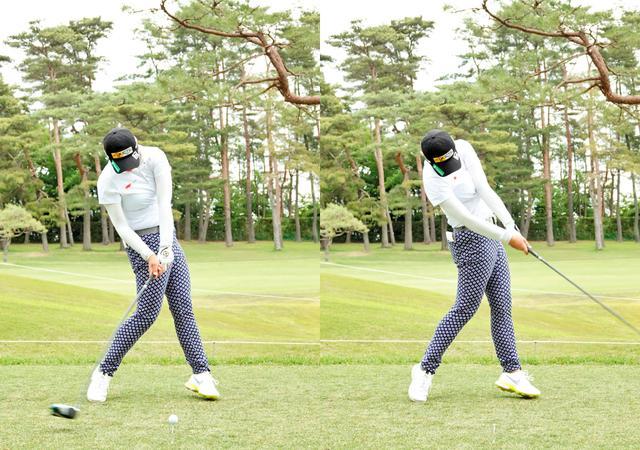 画像: 画像B スウィングの軸を右サイドに取りインパクト前に左ひざを伸ばし地面からの反力を回転力に変化しヘッドスピードを上げ(左)右手のひらでフェースを押し込むように使うことで方向性を確保する(右)(写真は2021年のワールドレディスサロンパスカップ)