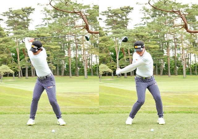 画像: 画像A 頭を右に動かしながら深く捻転し(左)スウィングの軸を右サイドに取りながら切り返す(右)(写真は2021年のワールドレディスサロンパスカップ)