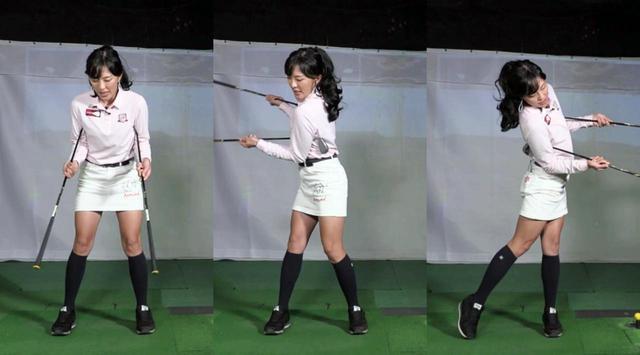 画像: 写真A:2本のアイアンをグリップエンドが地面側を向くように両わきに挟み、正面から見てハの字になるように持った状態(左)を作り、シャドースウィング(中、右)するドリル