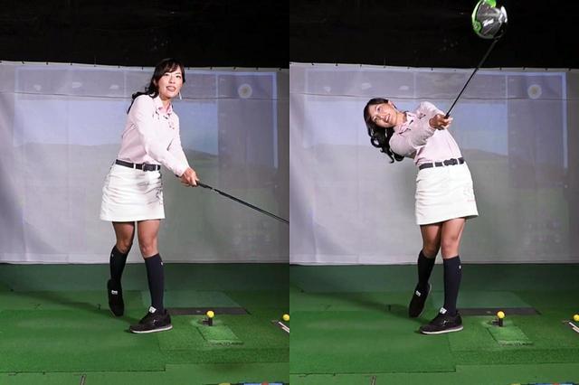 画像: 写真C:体が起き上がった状態でのフォロースルーは体全体がターゲット方向を向いてしまう(左)。右のように、上半身が斜めに傾いた状態でターゲットを捉えるのが正解だ
