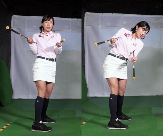 画像: 写真B:左のようにグリップエンドが飛球線後方側を真っすぐ指すのは、体が起き上がっている証拠。右のように、グリップエンドが地面側を向くように体を回すことを意識しよう
