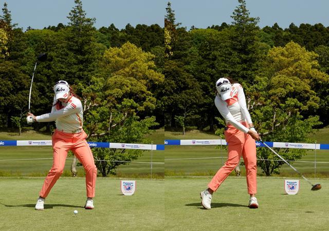 画像: 画像B 下半身から切り返すことで腰と肩のラインの捻転差を大きくしたい幹部のねじり戻りのパワーを最大限に生かす(ひだり)、頭の位置を残し左サイドに流れないことでクラブをスムーズ振り抜け長いインパクトゾーンで方向性も高い(右)