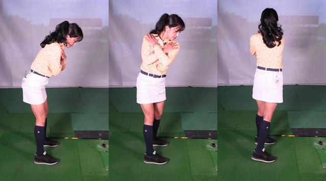 画像: 写真C:両肩が横方向に回ってしまうと、バックスウィング(中)で肩の回転に下半身が引っ張られ、ダウンスウィングからフォロー(右)で体が起き上がってしまう