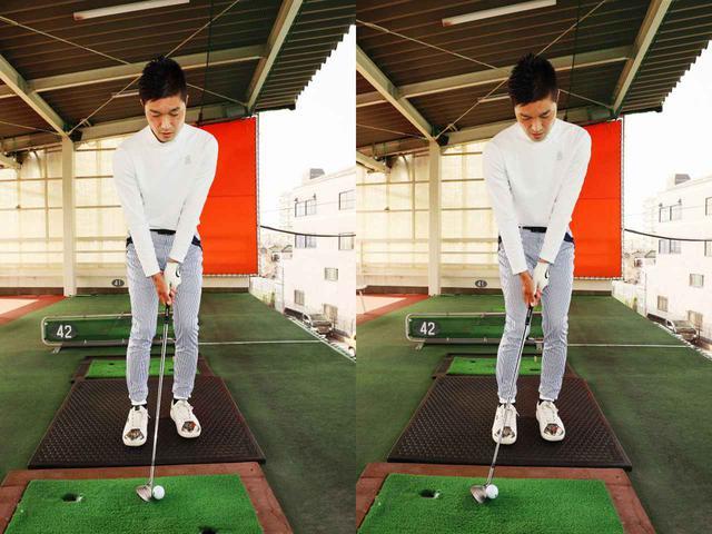画像: グリップを左太もも内側にセット、お尻を左へスライドをして重量配分を左6:右4にする。ノーマルアプローチはおへそより少し右側、転がしアプローチは右足かかと外側にセットするだけで打ち分けることができると奥山