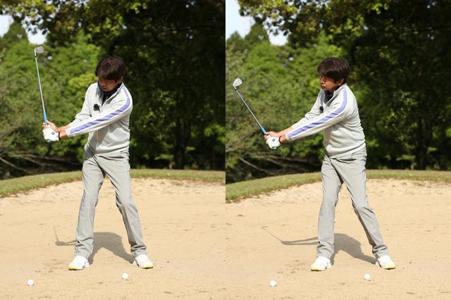 画像: 短い距離を打つ場合はヘッドを真上に上げて縦に振る(左)、長い距離を打つ場合はヘッドがゆるやかな軌道になるよう斜め後方に上げていく(右)
