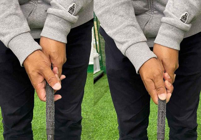 画像: (左)右手の親指と人差し指がゆるんでいてはダメ。(右)右手の親指と人差し指はしっかりと締めてグリップする
