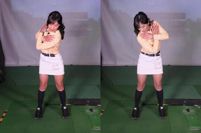 画像: 写真A:アドレス時と同様に前傾姿勢を取り、両腕を胸の前でクロスさせた状態を作ったら、下半身を動かさず上半身だけでシャドースウィング