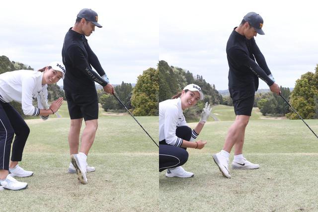 画像: 目標方向へ右足を蹴り上げるのはNG(左)。体の背中側へ向けて蹴り上げる意識を持つと、右足・右腰が目標方向へ動き過ぎない(右)