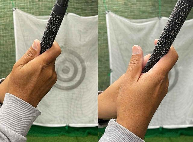 画像: (左)右手の親指と人差し指で作ったV字でクラブを受け止めて切り返す。(右)V字が緩んでいてはクラブを受け止められない