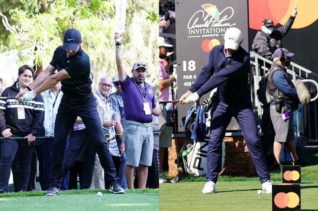 画像: 写真B:旧スウィング(左)より右サイドへの体重移動が減り、左足軸でクラブを上げている(右)