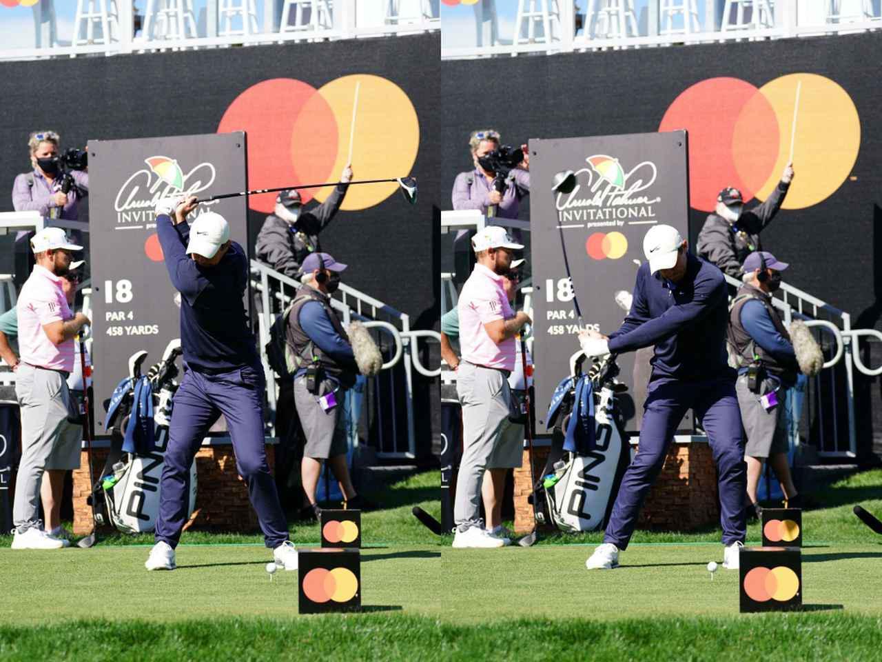 画像: ダウンスウィングで右のお尻を目標方向へ押し出すことで左への体重移動が起こり、右サイドに体重が残ったあおり打ちにならない