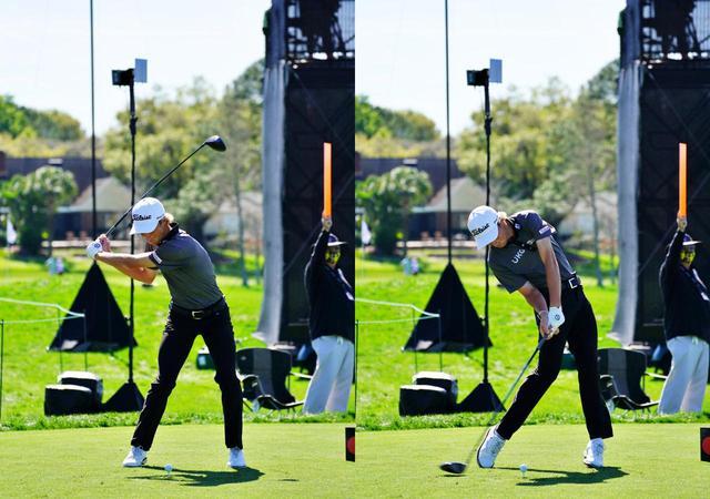 画像: 画像B 左腕が伸び入射角のゆるやかなインパクトゾーンへと向かう切り返し(左)から右肩を下げるように右サイドの側屈を入れ左足を蹴り上げて回転力に変換する(右)(写真は2021年のアーノルドパーマー招待)