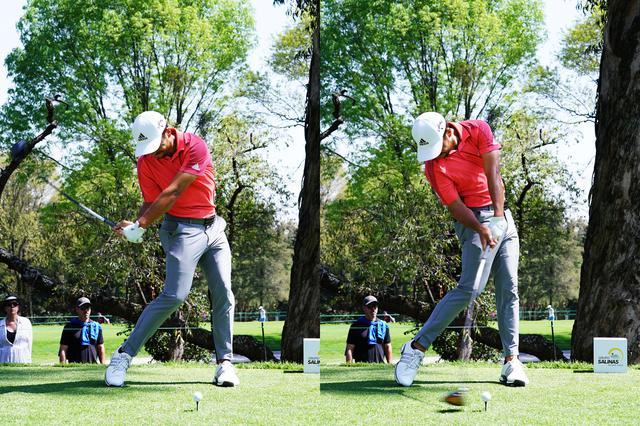 画像: ハーフウェイダウンからインパクトにかけてのスウィング。インパクトに向けて左手の甲は下に向き右ひじは曲がっている
