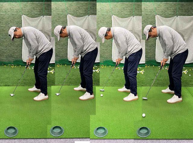 画像: 構えたら目標方向を見て、目線をボールに戻したら3秒以内で始動する