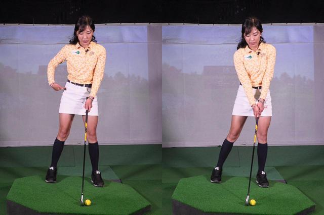 画像: お尻だけを左サイドに移動させるイメージで、左足つま先、左ひざ、左股関節が一直線となるように構えよう