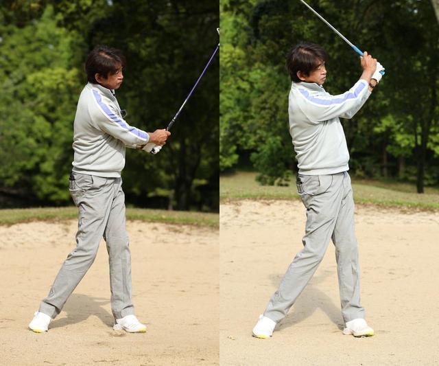画像: 高さを出すバンカーショット(右)では、通常のバンカーショット(左)よりフォローの位置が高く収まり、若干右足体重気味になる