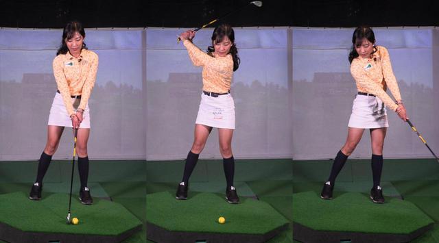 画像: アドレスで作った左足軸をキープしながら、ヘッドを低く長く出していくイメージで振っていこう