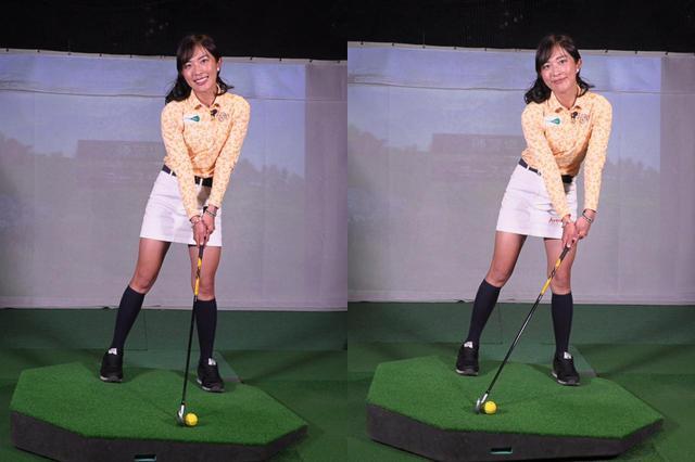 画像: 写真A:左のように、フェースを打ち出し方向に向けた状態でグリップエンドが左股関節の内側を指す位置にボールを置くのが正解。右のようにボール位置が右寄り過ぎるとアーリーリリースやあおり打ちの原因になってしまう