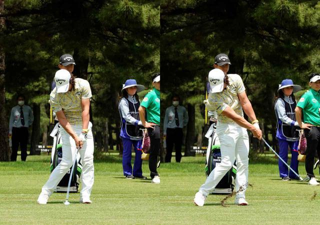 画像: フェースの開閉度合いを少なくしボールをターゲット方向に押し込む時間も長くなっていること、入射角が安定したことで縦の距離感も安定している(写真は2021年のゴルフパートナーPRO-AMトーナメント)