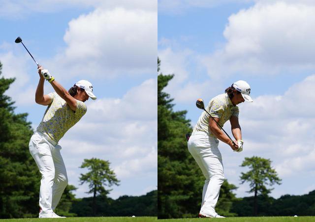 画像: コンパクトでややフラットなトップから浅くシャロ―な入射角でボールに向かうダウンスウィング(写真は2021年のゴルフパートナーPRO-AMトーナメント 写真/姉崎正)