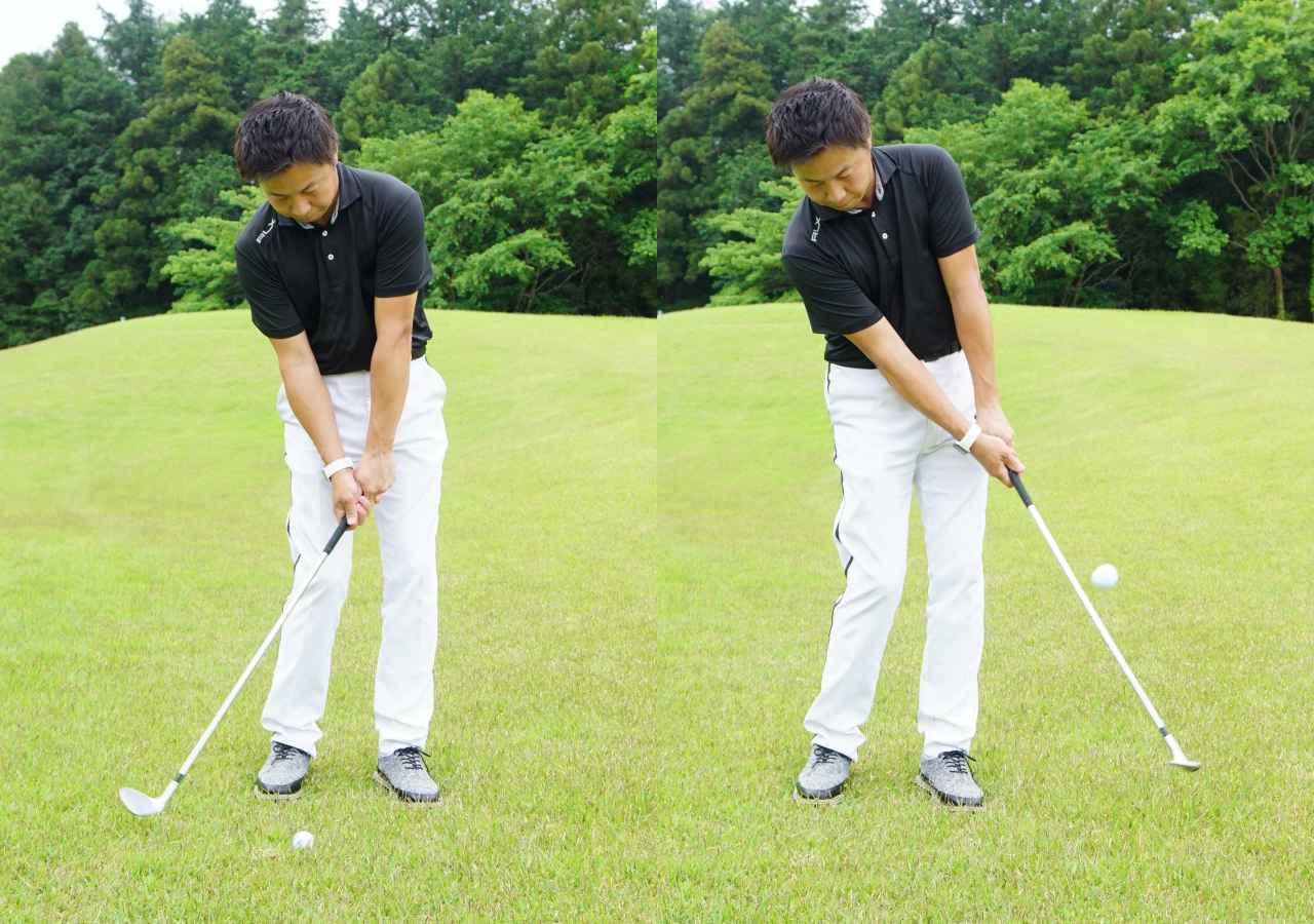 画像: 画像B 入射角が浅く低い位置からヘッドが入り(左)、高い位置へと振り抜くことでフェースにボールが乗り柔らかい弾道で打ち出せる
