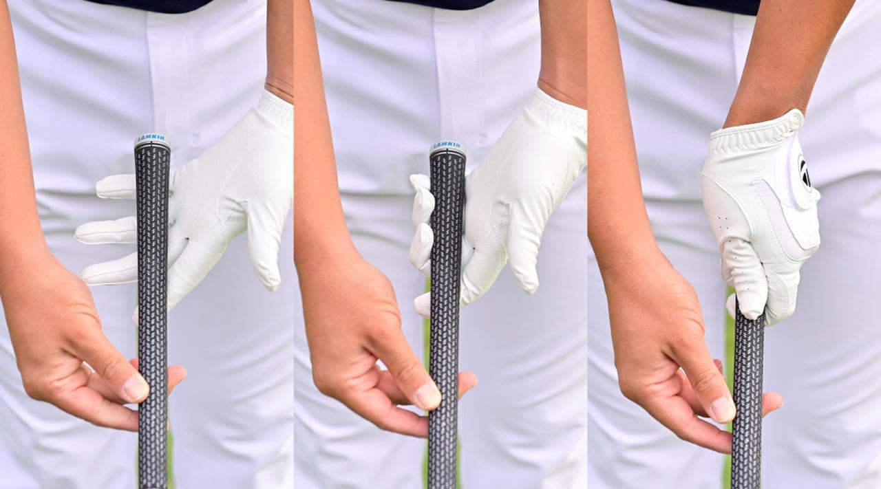 画像: 左手小指の付け根から中ほどにかけて斜めにグリップが位置するように握ろう