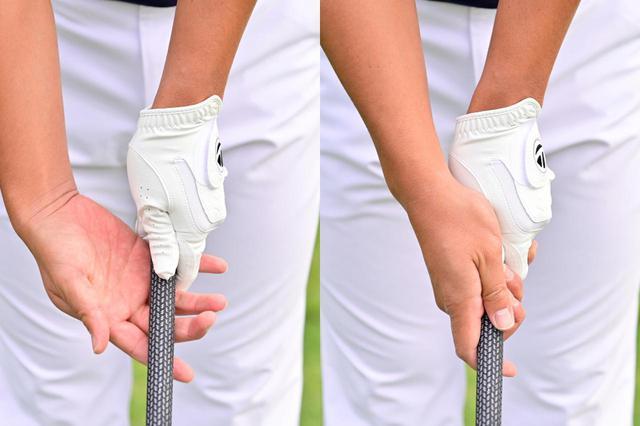 画像: 右手も左手と同様に、小指の付け根から中ほどにかけて斜めにグリップが位置するように握るのが正解
