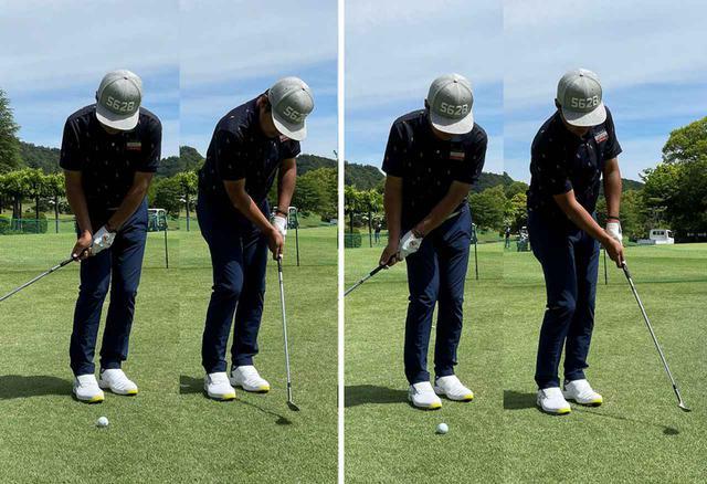 画像: (左)コックを使ったり、ダウンブローのイメージだとテンポが狂ったり、ダフったりしやすい。(右)肩の回転を意識してストロークするとテンポも狂いにくいし、ボールを払い打つことができる