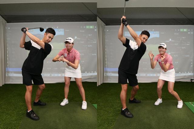 画像: 腕でクラブを上げると、腕・クラブが体の近くを通ってトップまで上がる(左)。肩から始動することで、腕・クラブが体の遠くを通り大きな弧を描くため(右)、飛距離アップにもつながると高島