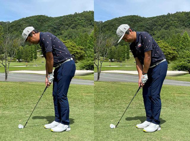 画像: (左)今まではスタンスは少しオープンで肩のラインはほぼスクエアに構えていました。(右)スタンスはほぼ同じで、肩は45度くらい開くイメージ