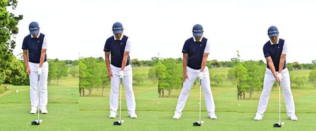 画像: 左手だけでグリップしボールが体の中心に位置するよう両足を揃えて構えたら(左)、左足をボールがかかと線上に位置するよう広げ(左中)、次に右足をスタンス幅が肩幅よりやや広くなるように広げる(右中)。最後に右手を添えてアドレスは完成
