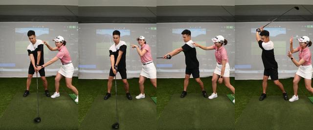 画像: アドレスしたら(左)、体を右に45度回転させるイメージで肩から始動(左中)。前傾角を保ったまま右を向くようにクラブを上げていき(右中)、高いトップ位置を作る(右)