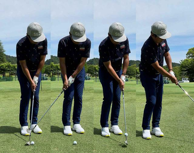 画像: (左)肩を45度開いてアドレス。(左中)トップで肩がスクェアに戻り、(右中)インパクトでまた肩が45度に開き、(右)フォローで胸がかなり目標方向を向く形。ヘッドがシャローに入るのでリーディングエッジも刺さらずソールがしっかり滑ってくれる