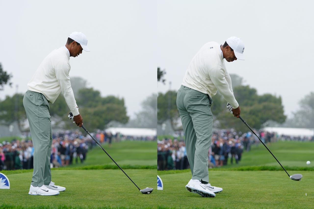 画像: タイガーのドライバースウィングのアドレス(左)とインパクト(右)。インパクトのときのお尻の位置がアドレスのときよりも後ろに下がっている