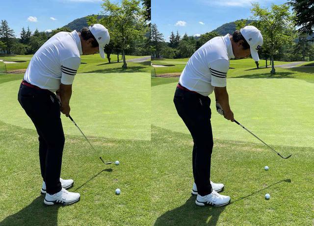 画像: (左)飛球線方向を表す向こう側のボールよりも内側にヘッドが来てしまってはダメ(右)飛球線方向よりも右外側にヘッドが行くようにする