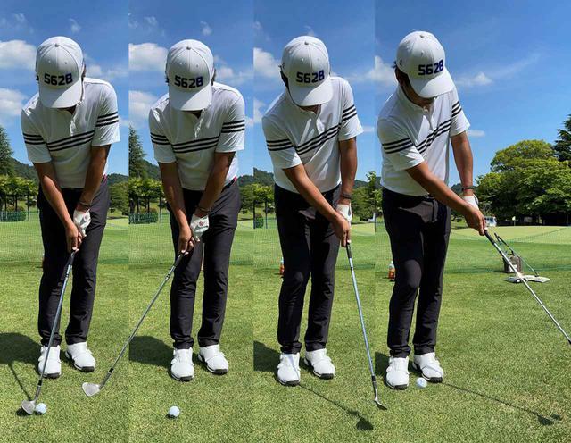画像: 正しい構えから、低くインサイドにテークバックして、横からヘッドを入れていきます。絶対にコックをしないことが大事!