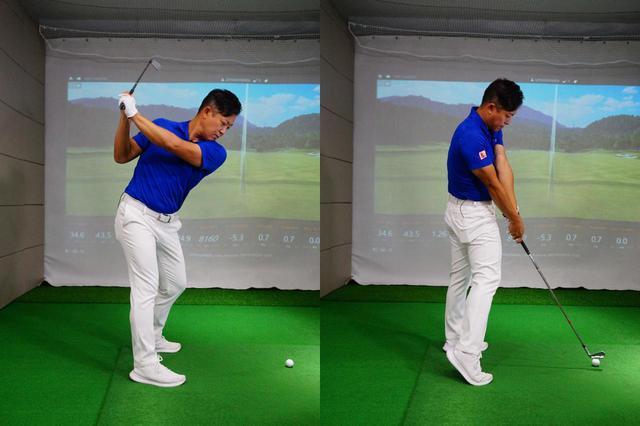 画像: 写真A:左足を軸に、右足を体の正面側に出すように腰を回すとアーリーエクステンションの原因になってしまう