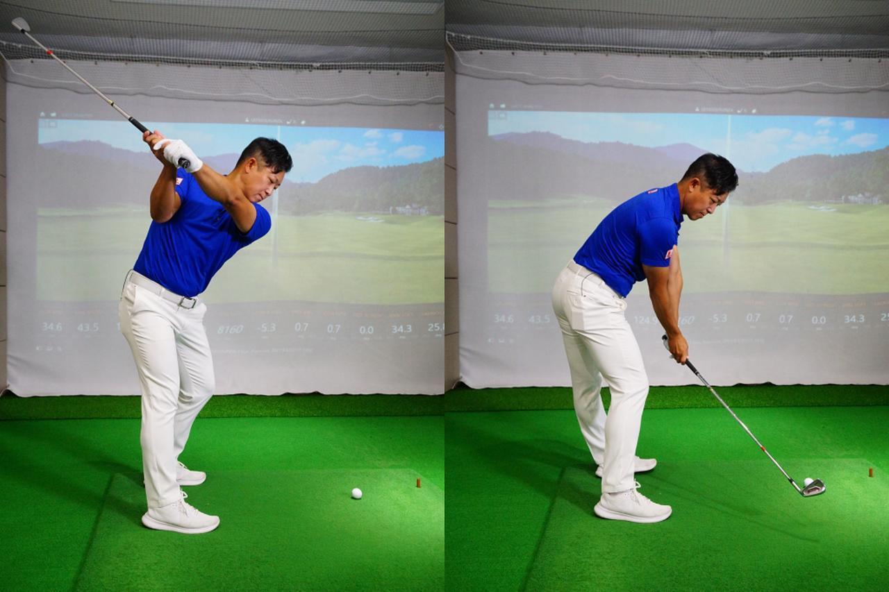 画像: 写真B:右足を軸に、左足を後方側へ引くように動かすのが正しい腰の回し方だと吉田